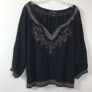 Lucky Brand Embroidered Elbow Length Sleeves Top M